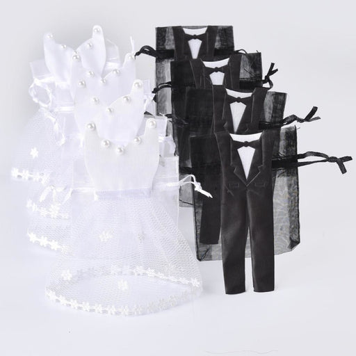 50 Pieces Organza Drawstring Wedding Anniversary Gifts - 25 Groom 25 Bride - wedding anniversary gifts
