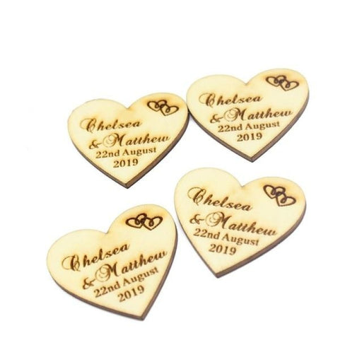Personalized Wood Wedding Heart Favors50pcs | Bridelily - Wood Hearts No holes / 50mm x 46mm - personalized favors