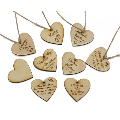 Personalized Wood Wedding Heart Favors50pcs | Bridelily - personalized favors
