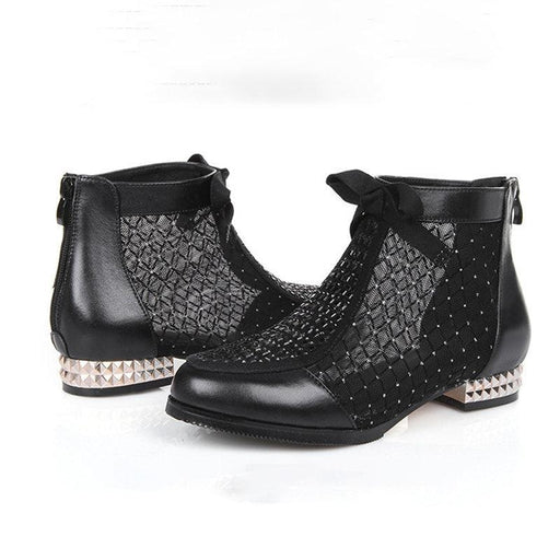 A| BrideLily Black Chunky Heel Bowknot Casual Mesh Boots - boots