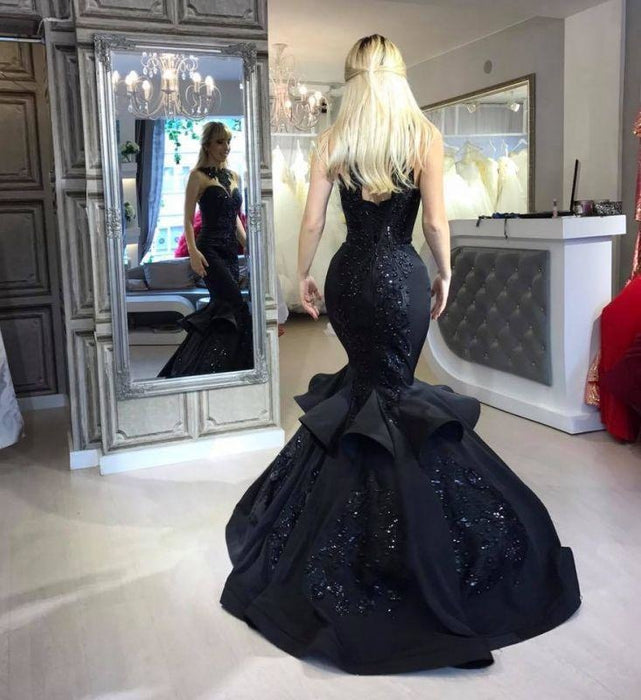 A| Bridelily Black Mermaid Beads Prom Dresses Appliques Evening Dresses - Prom Dresses