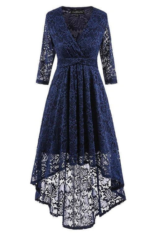 A| Bridelily Burgundy Half Sleeve Women Street Lace Dress - Blue / S - lace dresses