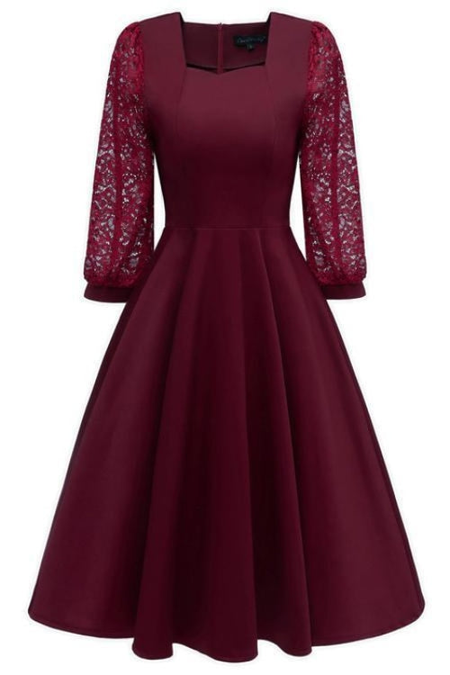 A| Bridelily Burgundy A-line Half Sleeve Lace Dress - Wine Red / S - lace dresses