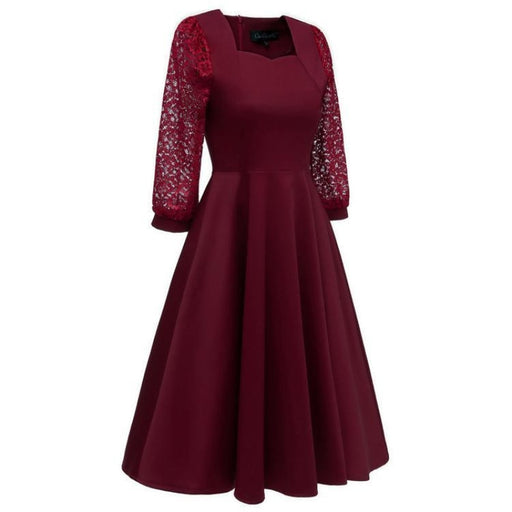 A| Bridelily Burgundy A-line Half Sleeve Lace Dress - lace dresses