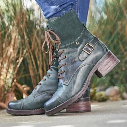 A| BrideLily Chic Style Color-block Boots Lace-Up All Season Boots - Boots