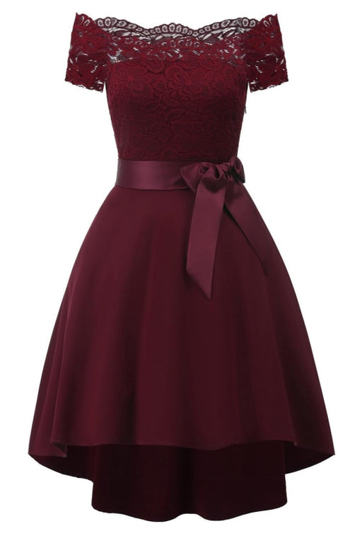 A| Bridelily Cocktail Dresses Simple A-Line lace Elegant Summer Lace Dress - Wine Red / S - lace dresses