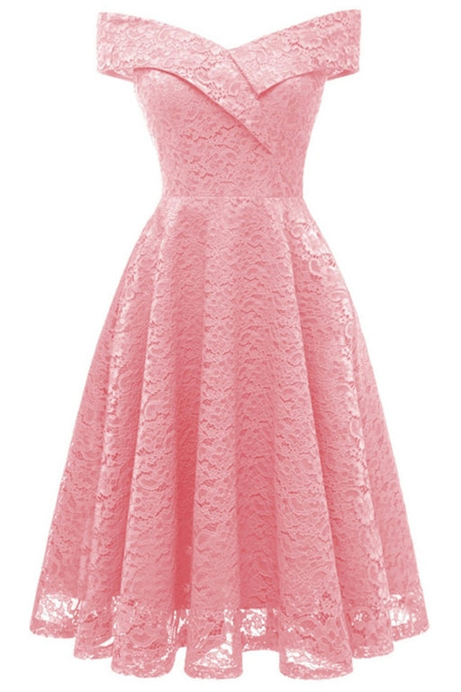 A| Bridelily Cute Lace Dress Wedding Party Formal Dress - S / Pink - lace dresses
