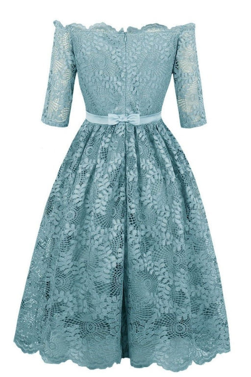 A| Bridelily Dress Gray Elegant Homecoming Dress A Line Off The Shoulder Half Sleeves - lace dresses