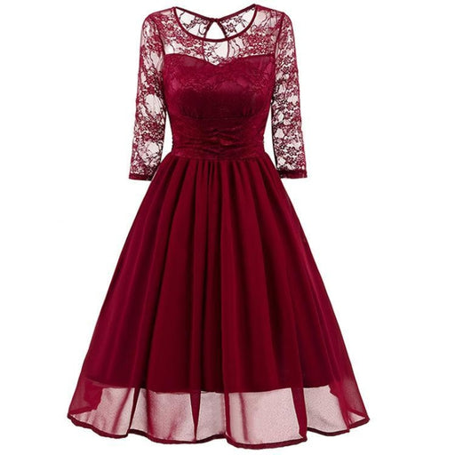 A| Bridelily Elegant Womans Chiffon Lace Dress Brand Ladies Girl Prom Dresses - S / Wine Red - lace dresses