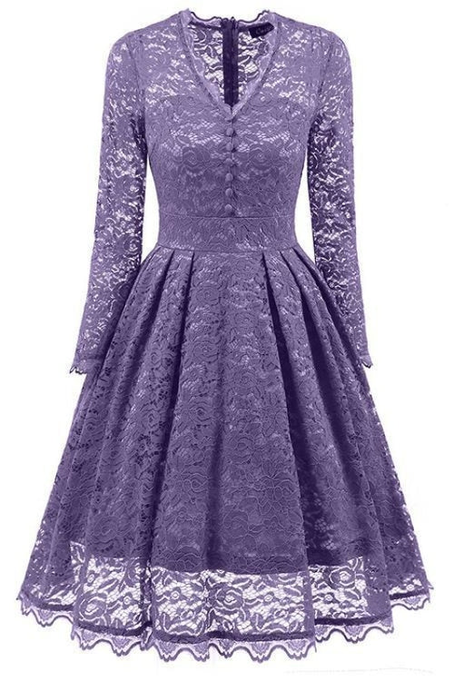 A| Bridelily Gray Long Sleeve V-Neck Homecoming Lace Dress - Violet / S - lace dresses