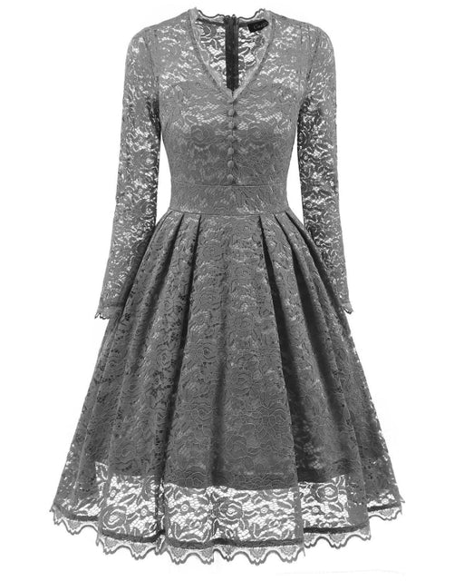 A| Bridelily Gray Long Sleeve V-Neck Homecoming Lace Dress - Gray / S - lace dresses