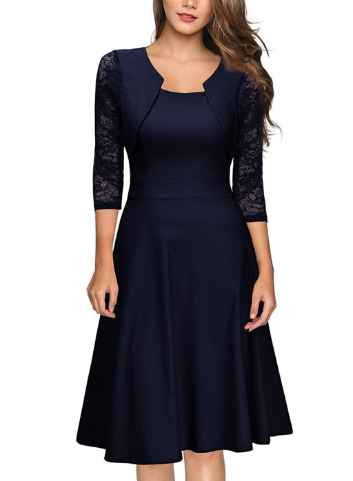 A| Bridelily Half Sleeve Burgundy Womens Cocktail Evening Party Dress - Blue / S - lace dresses