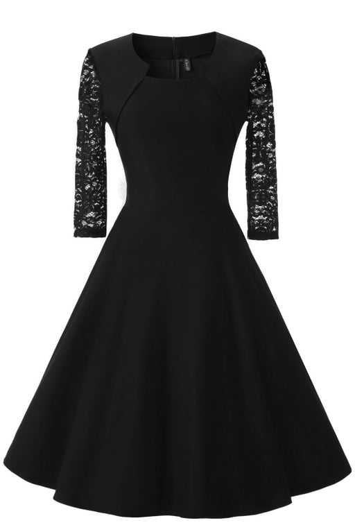 A| Bridelily Half Sleeve Burgundy Womens Cocktail Evening Party Dress - Black / S - lace dresses