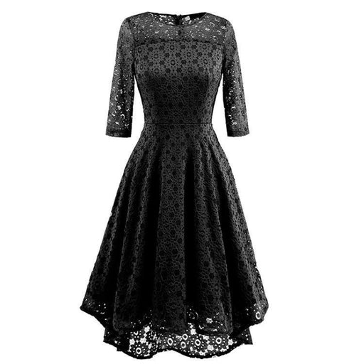 A| Bridelily Lace Patchwork Dress Elegant Rockabilly Cocktail Party Short Sleeve A Line Swing Dress - Black / S - lace dresses