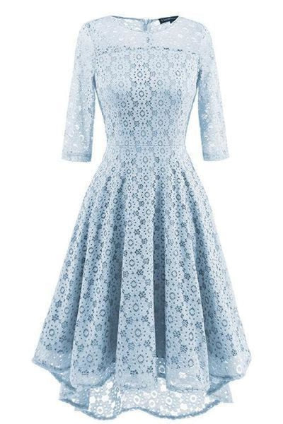 A| Bridelily Lace Patchwork Dress Elegant Rockabilly Cocktail Party Short Sleeve A Line Swing Dress - Water Blue / S - lace dresses