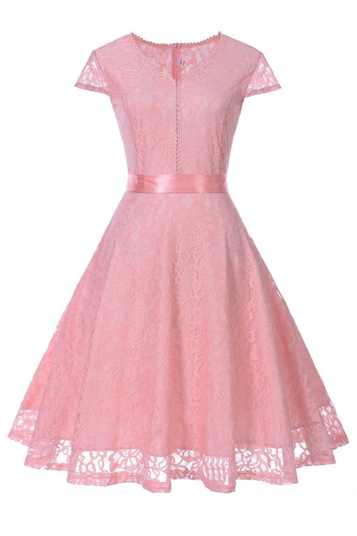 A| Bridelily Lace Stitching Retro Belt Waist Slim Dress - S / Pink - lace dresses