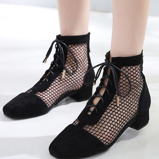 A| BrideLily Mesh Pretty Look Black Lace-up Summer Boots - Black / 5.5 - boots