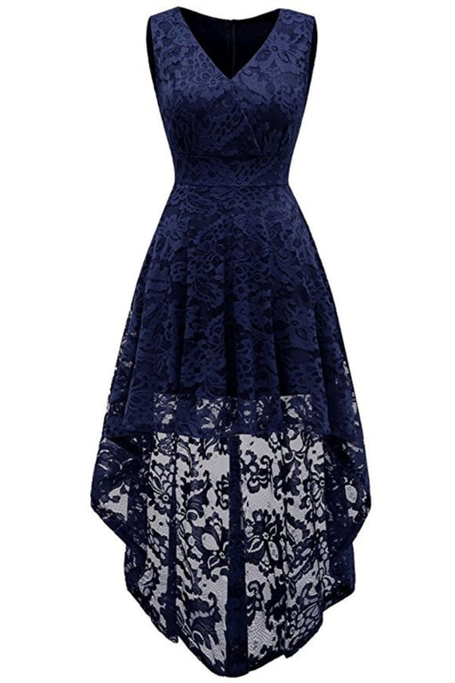 A| Bridelily Simple Cocktail Dresses Lace Short Front Long Back Dresses - S / Navy Blue - lace dresses