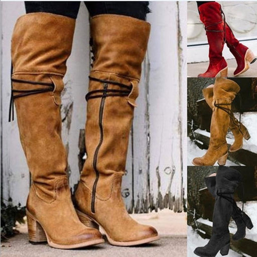A| BrideLily Vintage Knee High Lace Up Zipper Boots Plus Size Warm Snow Boots - Boots