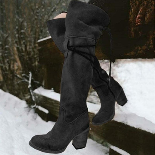 A| BrideLily Vintage Knee High Lace Up Zipper Boots Plus Size Warm Snow Boots - Black / US 4.5 - Boots