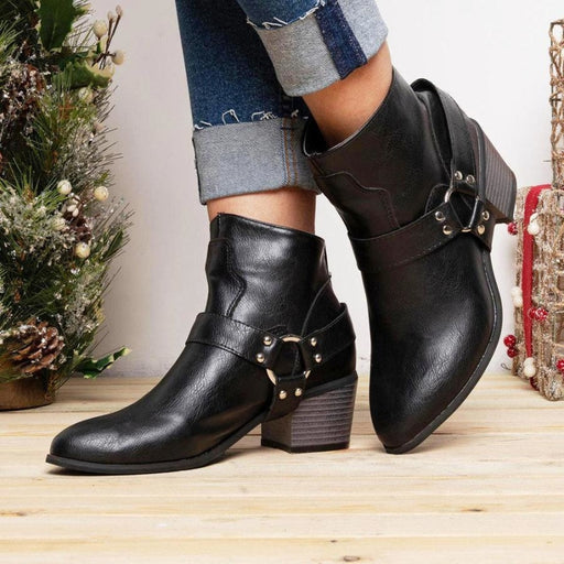 A| BrideLily Women Fashion Casual Zipper Low Heel Ankle Boots - Boots