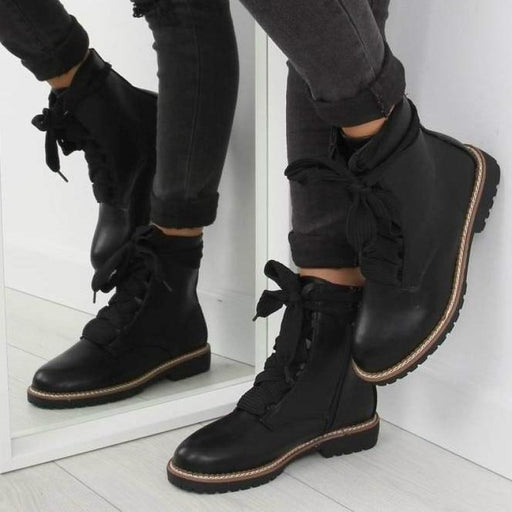 A| BrideLily Womens Daily Chunky Heel Lace-Up Combat Sneakers Boots - Boots