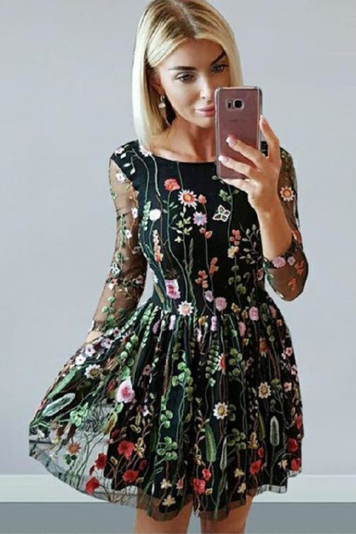 A Line 3D Lace Homecoming Long Sleeves Cute Prom Dress with Flowers - Prom Dresses
