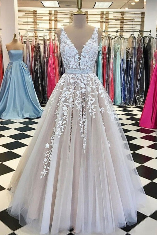 A Line Applique Tulle Prom Long V Neck Sleeveless Party Dress with Beading - Prom Dresses