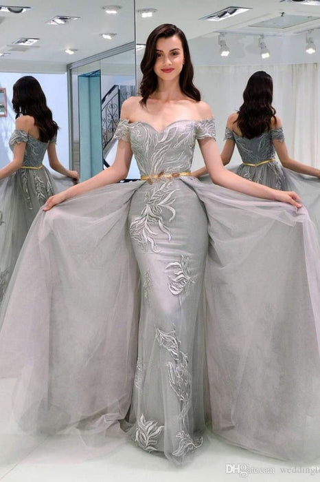 A-Line Appliques Off-the-Shoulder Gray Evening With Sashes Long Tulle Prom Dress - Prom Dresses