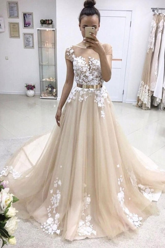 A-line Bateau Lace Appliqued Gold Sash Short Sleeves Wedding Dress - Wedding Dresses