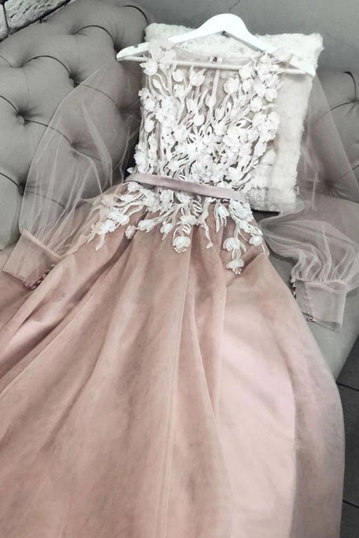 A Line Bateau Long Sleeves Floor Length Prom with Appliques Charming Formal Dress - Prom Dresses
