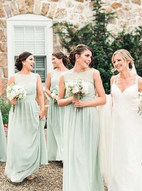 A-Line Bateau Pleated Mint Chiffon Bridesmaid Dress - Bridesmaid Dresses