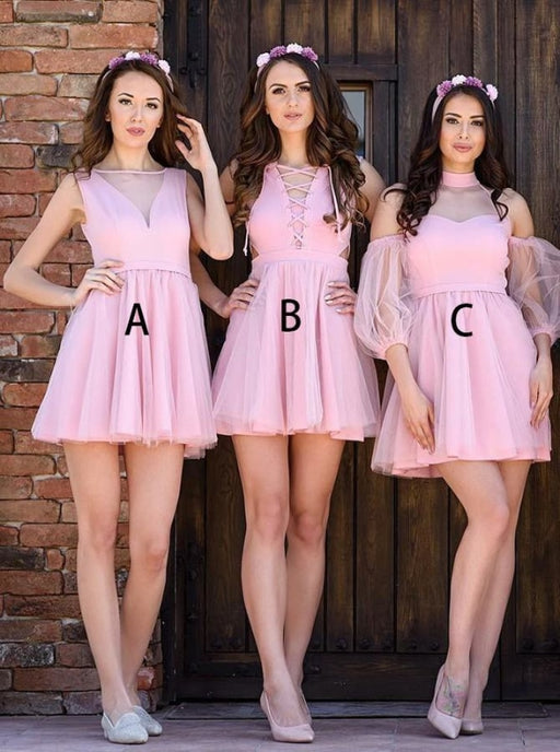 A-Line Bateau Sleeveless Short Pink Tulle Bridesmaid Dress - Bridesmaid Dresses