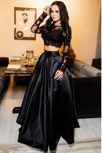 A-line Black Two Piece Long Sleeve Floor Length Satin Evening Dress with Lace - Prom Dresses