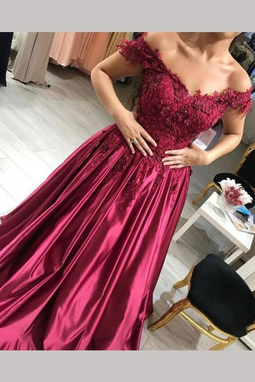 A Line Burgundy Off the Shoulder Lace Up Back Applique Satin Long Prom Dress - Prom Dresses