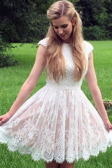 A Line Cap Sleeves Homecoming with Pearls Short Lace Graduation Dress - Prom Dresses