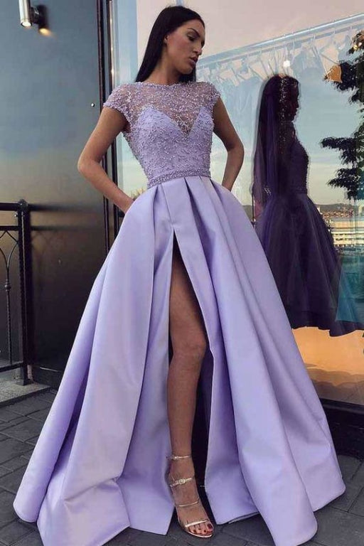 A Line Cap Sleeves Prom Dress Satin Graduation School Party Gown with Side Split - Prom Dresses