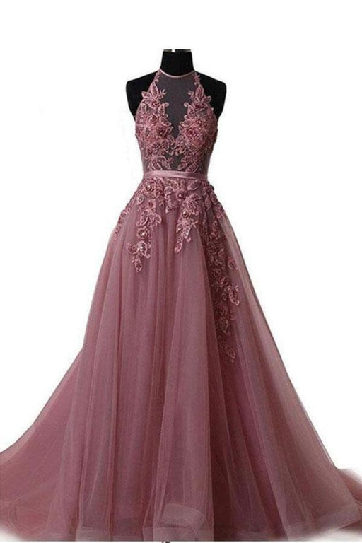 A Line Cheap Halter Tulle Prom Appliques Long Party Dress with Rhinestones - Prom Dresses