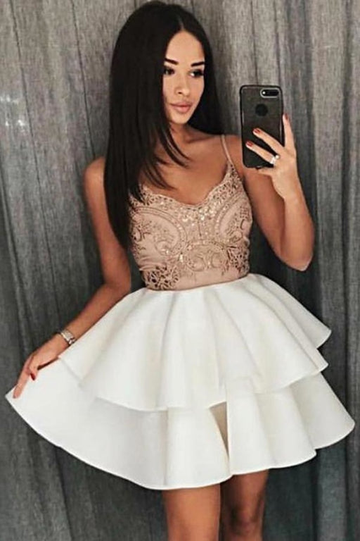 A Line Cheap Spaghetti Strap Ivory Tiered Homecoming Dress with Appliques - Prom Dresses