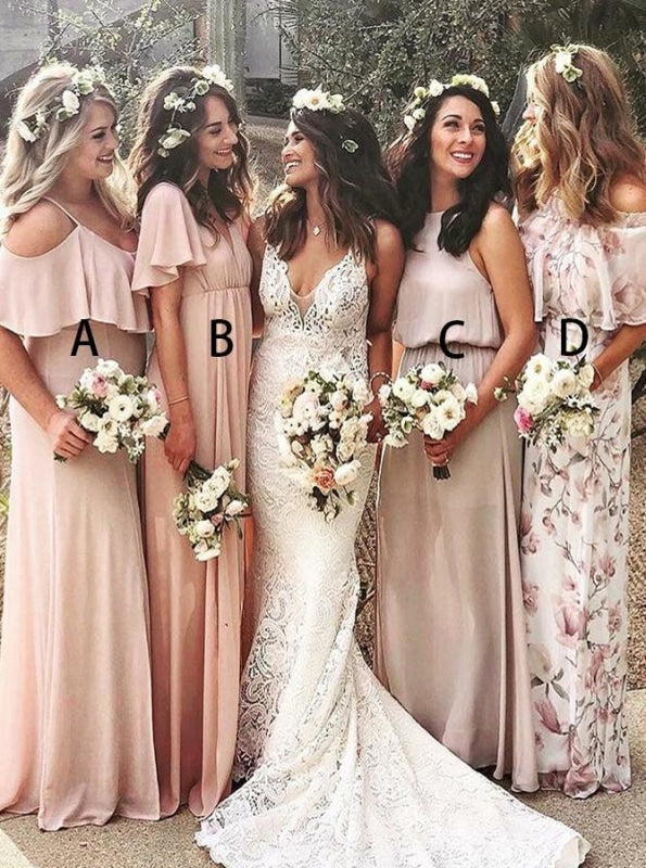 A-Line Cold Shoulder Pink Chiffon Bridesmaid Dress - Bridesmaid Dresses
