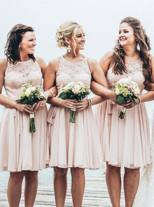 A-Line Crew Knee-Length Sleeveless Pearl Pink Chiffon Bridesmaid Dress - Bridesmaid Dresses