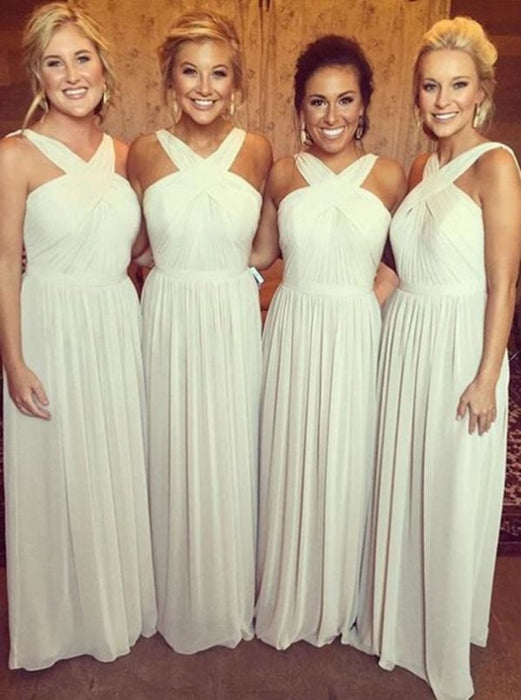 A-Line Cross Neck Floor-Length Pleated Ivory Chiffon Bridesmaid Dress - Bridesmaid Dresses