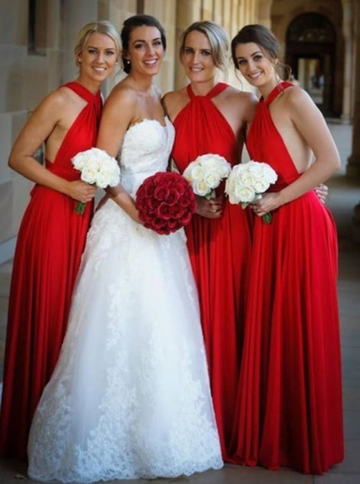 A-Line Cross Neck Floor Length Red Satin Bridesmaid Dress - Bridesmaid Dresses