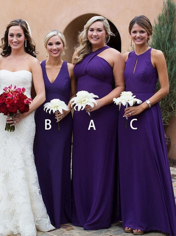 A-Line Cross Neck Sweep Train Grape Chiffon Bridesmaid Dress - Bridesmaid Dresses