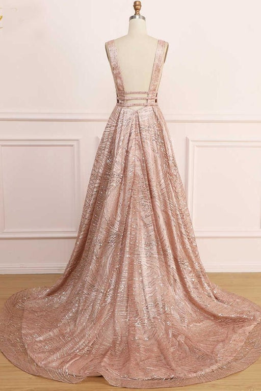A Line Deep V Neck Long Prom with Sequins Glitter Sleeveless Evening Dress - Prom Dresses