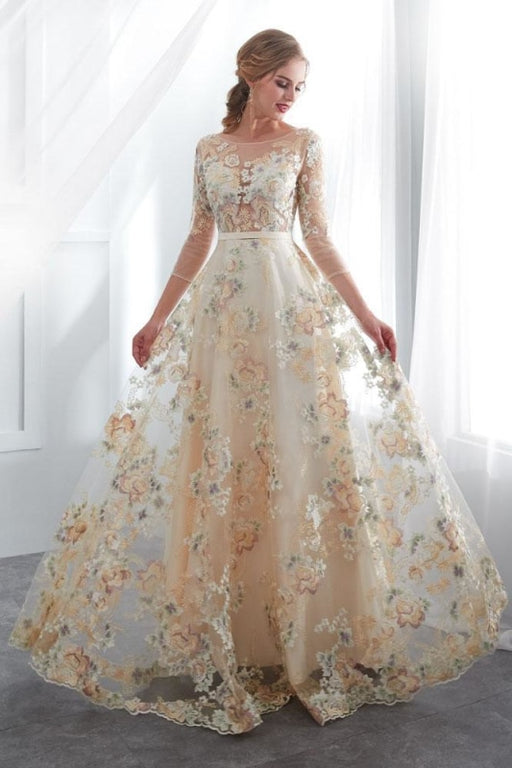 A Line Floor Length Floral Prom Dresses 3/4 Sleeves A-line Empire Waist Long Evening Gowns - Prom Dresses
