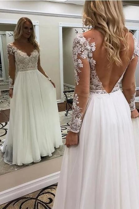 A Line Floor Length Long Sleeves V Neck Tulle Beach Wedding Dress - Wedding Dresses