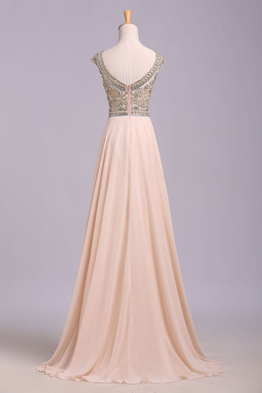 A Line Floor Length Scoop Chiffon Prom Dress Beading Long Evening Dresses - Prom Dresses