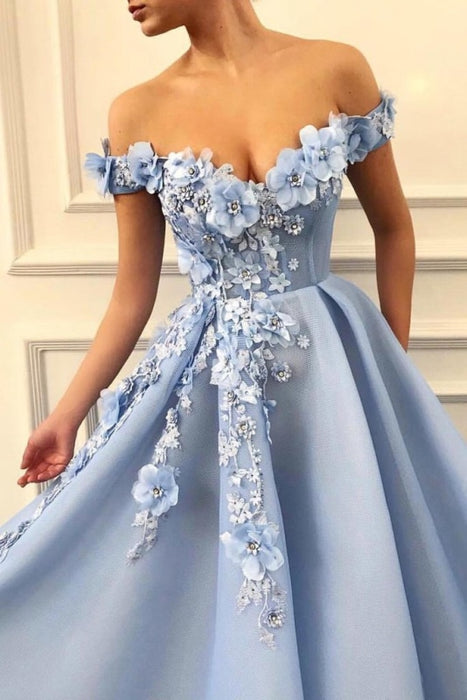 A Line Flowers Long Party Prom Dress with Appliques - Prom Dresses