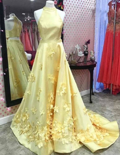 A Line Formal Yellow Halter Handmade Flowers Prom Dresses with Sweep Train - Prom Dresses